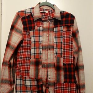 "Diesel Women""s Red Patchwork Long Sleeve Shirt"
